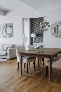 Dining room staged with table and side table